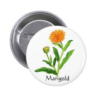 Herb Garden Series - Marigold 2 Inch Round Button