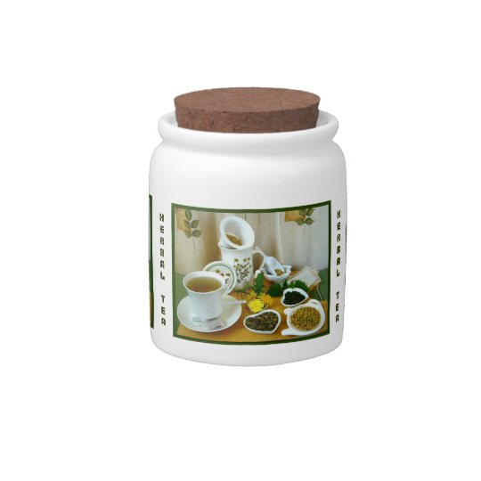 Herbal Teatime ~ Herb Tea Jar # 2 Candy Jar