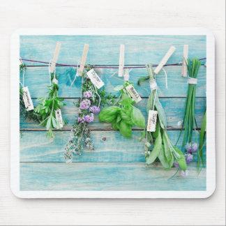 herbals en la pared de madera pintada turquesa del alfombrilla de ratones