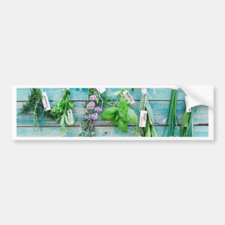 herbals on vintage turquoise painted wood wall bumper sticker