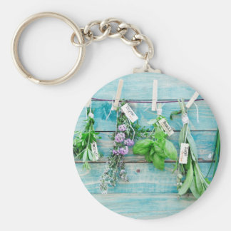 herbals on vintage turquoise painted wood wall keychains
