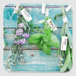 herbals on vintage turquoise painted wood wall stickers