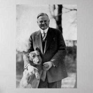 HERBERT HOOVER & His Dog by Herbert E. French Poster