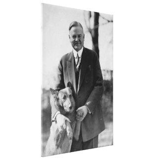 HERBERT HOOVER y su perro de Herberto E. french Impresiones En Lienzo Estiradas