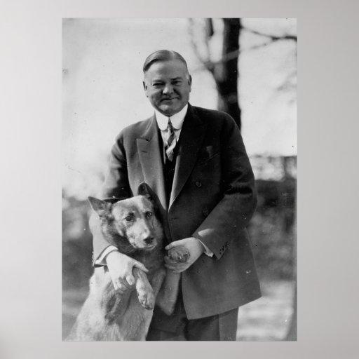 HERBERT HOOVER y su perro de Herberto E. french Poster