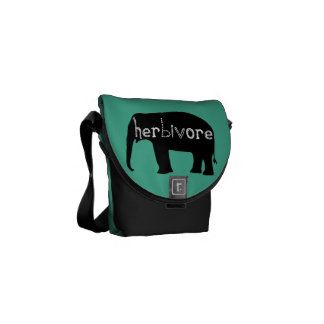Herbívoro - elefante - azul bolsa de mensajeria