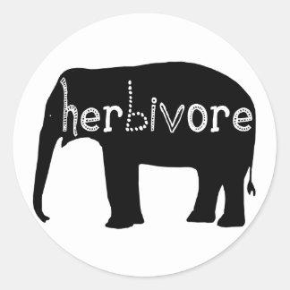 Herbívoro - elefante pegatina redonda