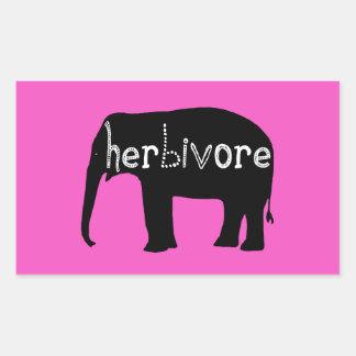 Herbívoro - elefante - rosa pegatina rectangular
