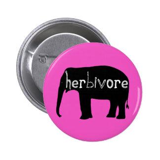 Herbívoro - elefante - rosa pin redondo de 2 pulgadas