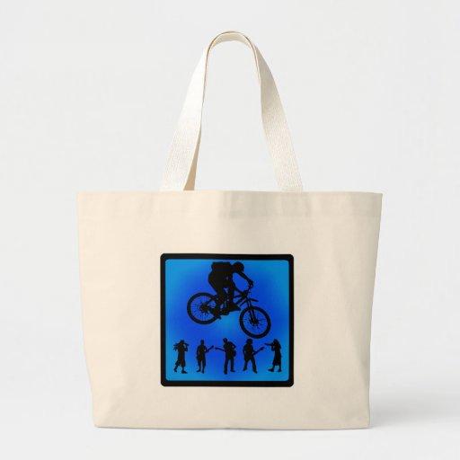 Herboso azul de la bici bolsa lienzo