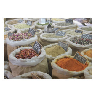 Herbs and spices at a french market cloth placemat