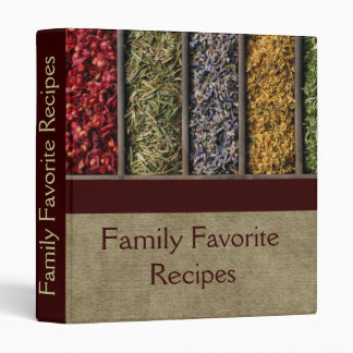 Herbs and spices burlap recipe binder