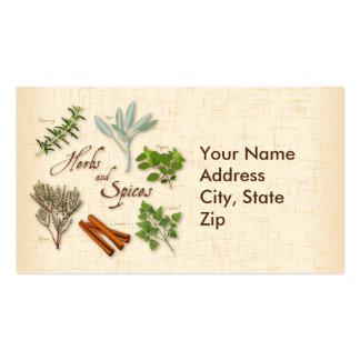 Herbs and Spices, Rosemary, Sage, Thyme, Cinnamon Business Card