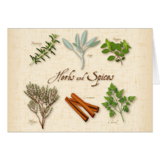 Herbs and Spices, Rosemary, Sage, Thyme, Cinnamon Card