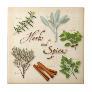 Herbs and Spices, Rosemary, Sage, Thyme, Cinnamon Ceramic Tile