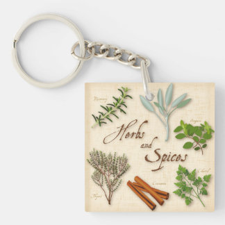 Herbs and Spices, Rosemary, Sage, Thyme, Cinnamon Keychain