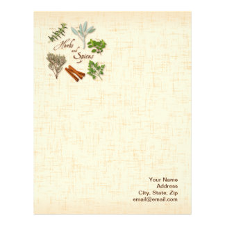 Herbs and Spices, Rosemary, Sage, Thyme, Cinnamon Letterhead