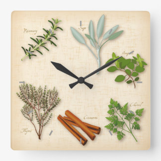 Herbs and Spices, Rosemary, Sage, Thyme, Cinnamon Square Wall Clock