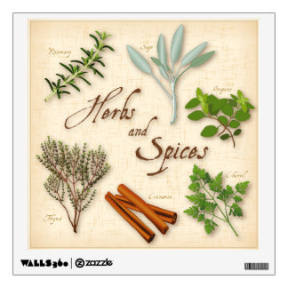 Herbs and Spices, Rosemary, Sage, Thyme, Cinnamon Wall Decal
