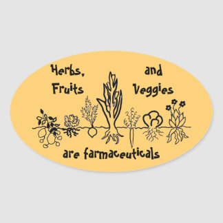 herbs fruits and vegetables oval sticker