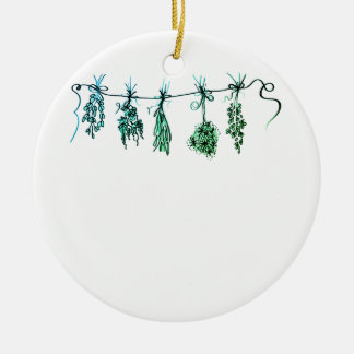 Herbs -green hue ceramic ornament