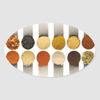 Herbs Spices & Powdered Ingredients Oval Sticker