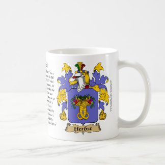 Herbst, the Origin, the Meaning and the Crest Coffee Mug