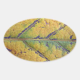 Herbstblatt - by AbBe Oval Sticker