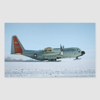 Hercules Aircraft Equipped with Snow Skis Rectangular Sticker