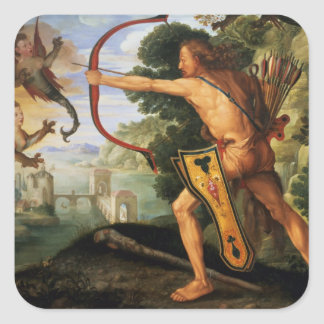Hercules and the Stymphalian birds 1600 Square Sticker