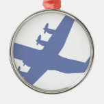 Hercules C-130 Silver-Colored Round Decoration