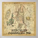 Hercules Constellation Star Map Crown Lyra Poster