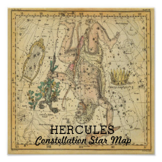 Hercules Constellation Star Map Crown Lyra Poster
