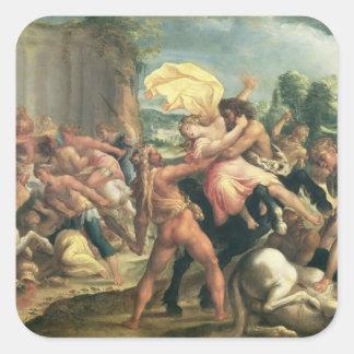 Hércules, Deianeira y el centaur Eurytion Pegatina Cuadrada