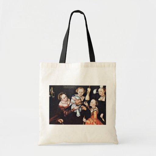 Hércules en Omphale por Lucas Cranach Der Ältere ( Bolsa De Mano