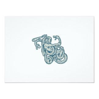 Hercules Fighting Hydra Club 6.5x8.75 Paper Invitation Card