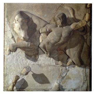 Hercules Fighting the Cretan Bull, one of a series Tile