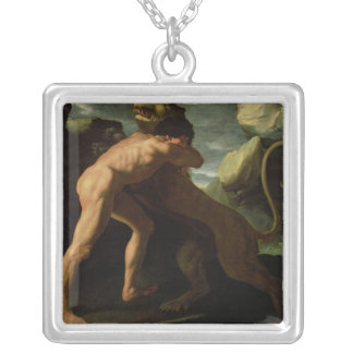 Hercules Fighting with the Nemean Lion Silver Plated Necklace