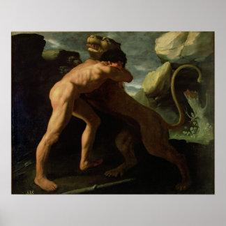 Hércules que lucha con el león de Nemean Poster