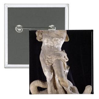 Hércules que lucha el Hydra de Lernaean Pin Cuadrada 5 Cm
