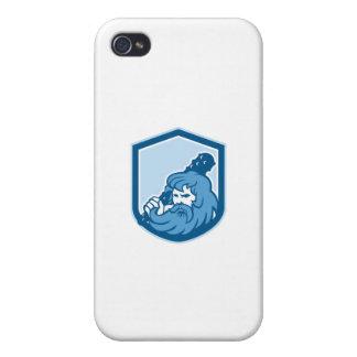 Hércules que maneja el escudo del club retro iPhone 4 cárcasa