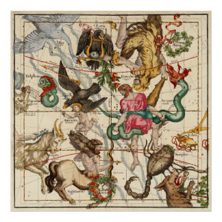 Hércules, sagitario, Delphinus y Scorpius Póster
