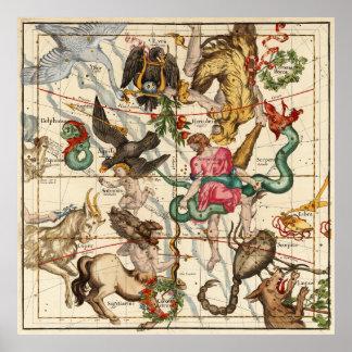 Hercules, Sagittarius, Delphinus and  Scorpius Poster