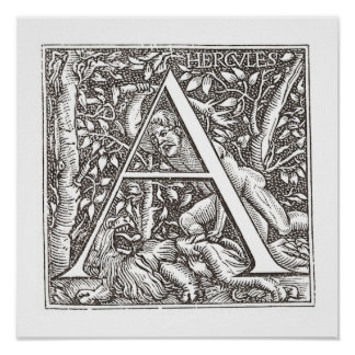Hercules Slaying the Lion with Letter A Monogram Posters