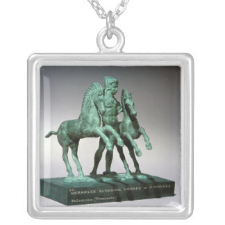 Hercules subduing the horses of Diomedes, Silver Plated Necklace