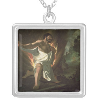 Hercules Tearing the Burning Robe, c.1634 Square Pendant Necklace