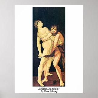 Hércules y Antaeus de Hans Baldung Poster