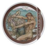 Hércules y el viejo hombre del mar plato