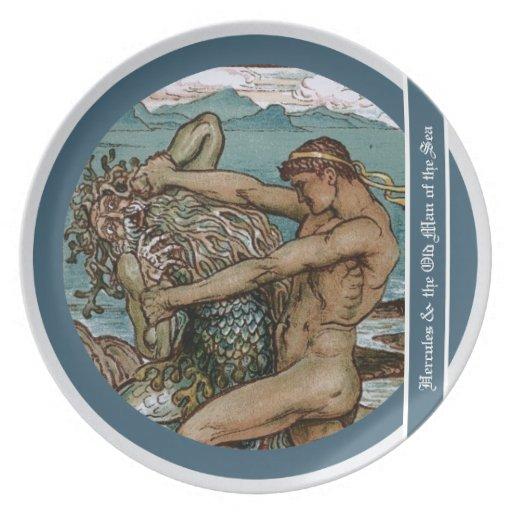 Hércules y el viejo hombre del mar platos para fiestas