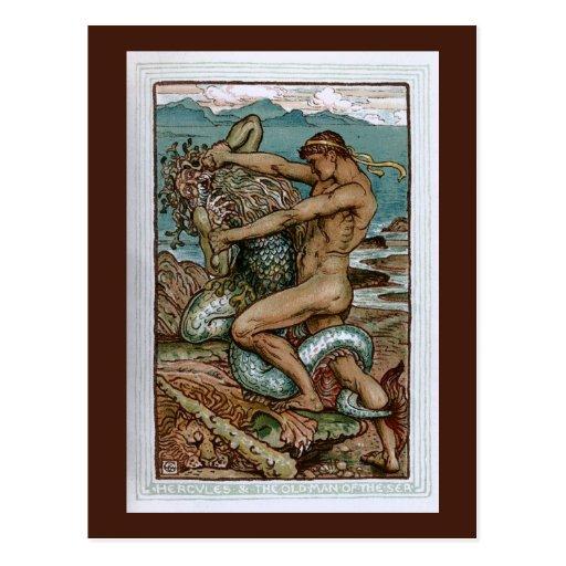Hércules y el viejo hombre del mar tarjeta postal